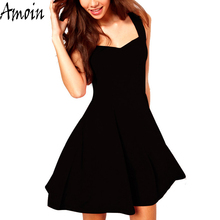 Amoin Brand Women Sexy Little Black Dress 2017 Summer Vestido Fashion Casual Classic Brief A Line Skater Knee Length Dress