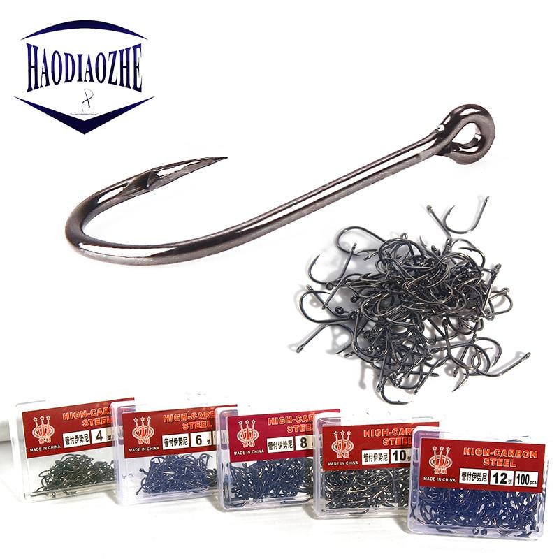 HAODIAOZHE 100Pcs/Box Fishing Hooks High Carbon Steel Fishhooks barbed Hook Lake River Ocean Efficiency YU415