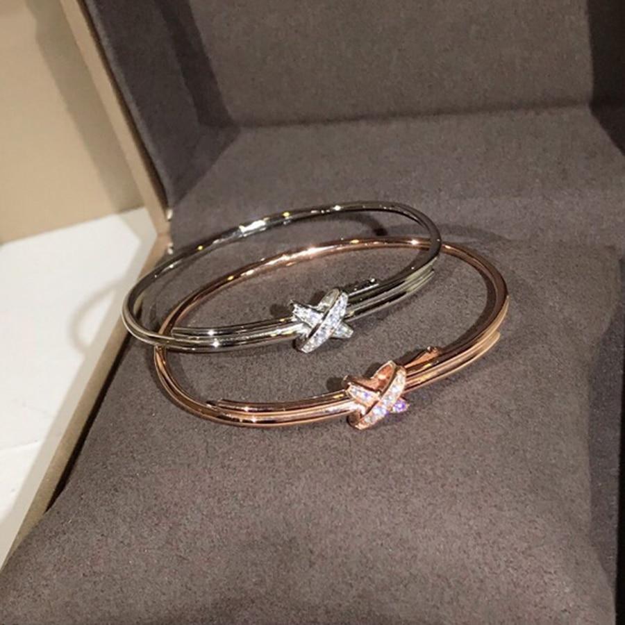 Fashion Classic Merk X shape Armband Luxe Echte 925 Sterling Zilveren Sieraden Voor Vrouwen Party Dagelijkse Hoge Kwaliteit Bijoux-in Armring van Sieraden & accessoires op  Groep 1