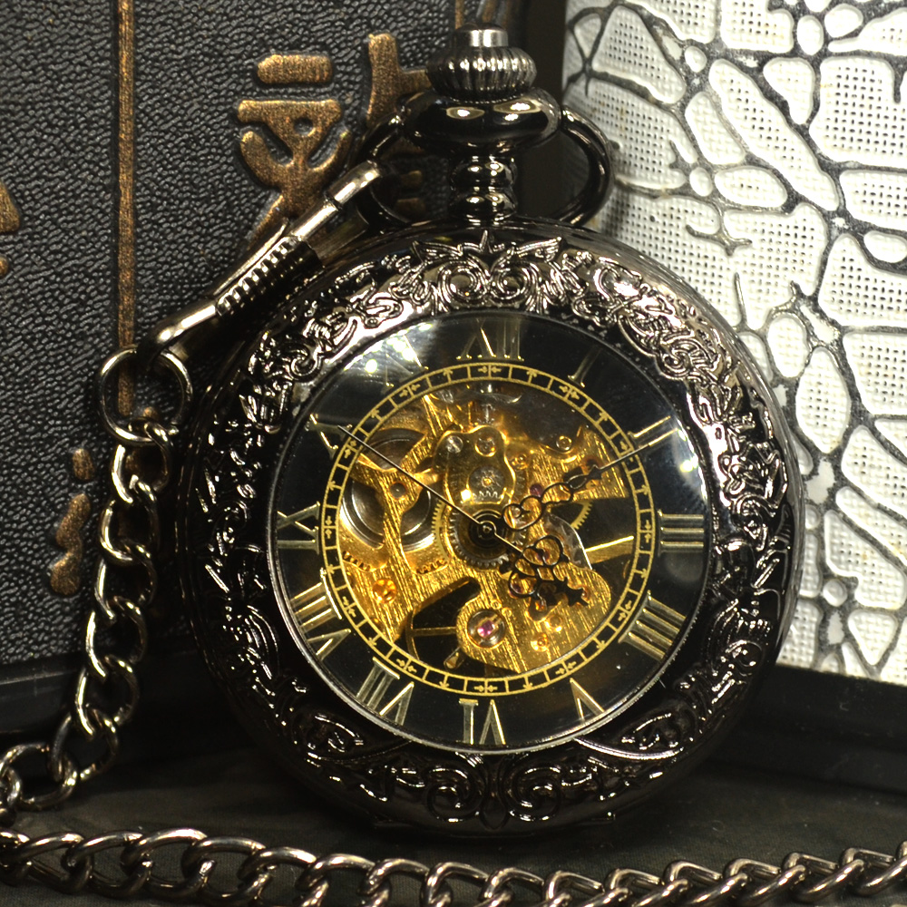 TIEDAN Black Steampunk Skeleton Mechanical Pocket Watch Men Antique Luxury Brand Necklace Pocket & Fob Watches Chain Male Clock luxury antique skeleton cooper mechanical automatic pocket watch men women chic gift with chain relogio de bolso