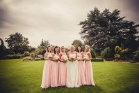 Wholesale Stock Pink Full Length Cap Sleeve Beading Bridesmaid Ball Prom Party Dress Size 4 6 8 10 12 14 16