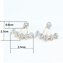 Drop Crystals Stud Earring for Women gold color Double Sided Fashion Jewelry Earrings female Ear brincos Pending e0123