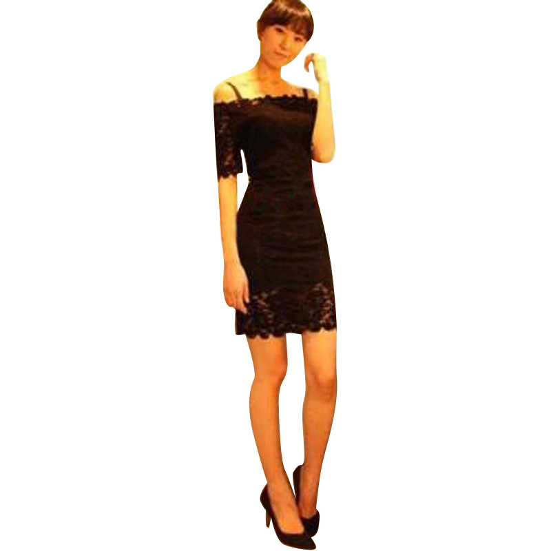 SEXY OFF SHOULDER 3/4 SLEEVE LACE DRESS WITH SPAGHETTI STRAP Freeshipping