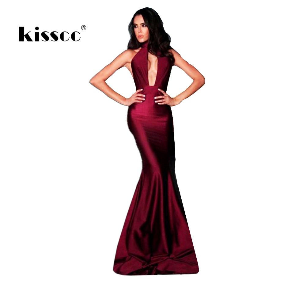 Sexy víno červené saténové ohlávky Maxi šaty vyhloubené s hlubokým výstřihem bez rukávů Elegantní společenské šaty