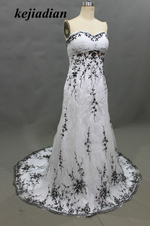 white and black wedding dresses embroidered new fashionable sleeveless 2017 bridal dress vestidos de noiva