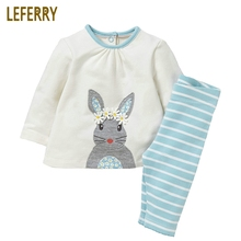 цена на 2-7 Years Old Cotton Children Clothing Kids Girls Clothes Sets Long Sleeve T-shirt + Leggings Toddler Girls Clothing Set Striped