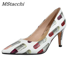 MStacchi Fashion Printing Pointed Toe Pumps Sexy Patent Leather Thin heel  Shoes Elegant Lipstick Woman Party a1d718ad657e