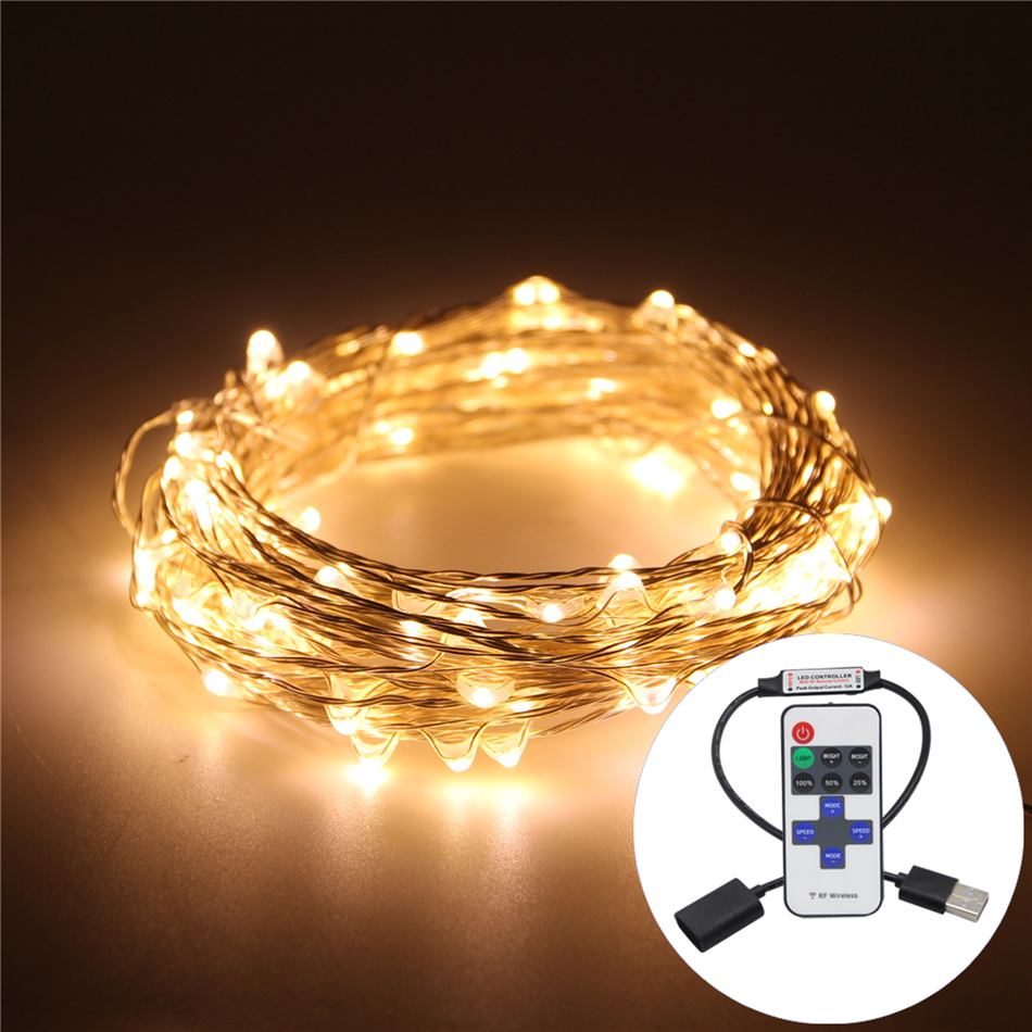 Waterproof 100LED 10M 33FT Christmas Lights LED String 5V USB Copper Wire Fairy Outdoor Lighting Wedding Christmas Decoration