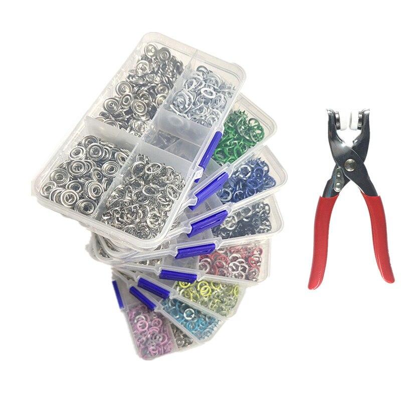 100 комплектов в коробке, 9,5 мм, Φ шпильки, кнопки, открытые кольца, скобы, заклепки с плоскогубцами