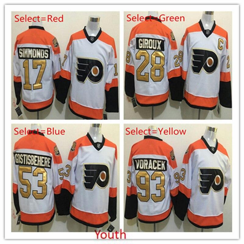 f050ca1eb09 ... Hot Mens 53 Shayne Gostisbehere 17 Wayne Simmonds 28 Claude Giroux 93  Jakub Voracek Orange White Philadelphia Flyers ...