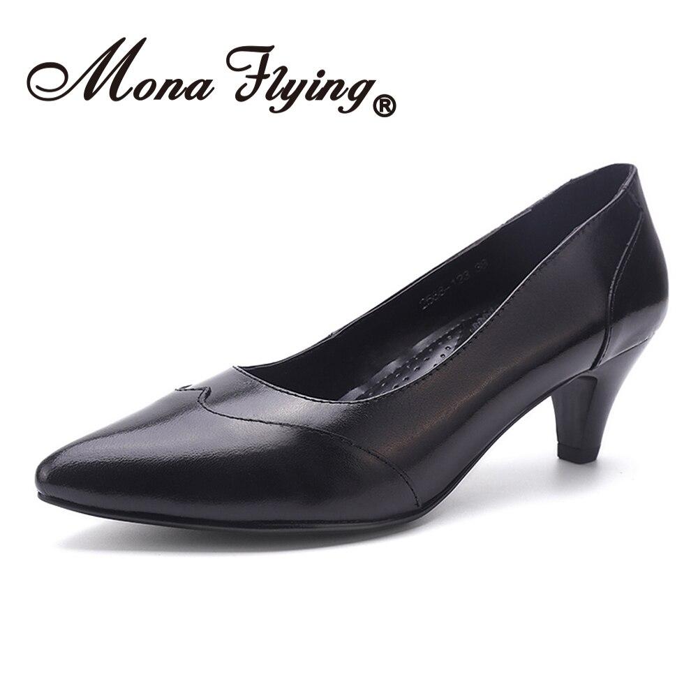Mona volant femmes en cuir élégant confort fait à la main chaussures robe bureau pompes bout pointu talons hauts pour femmes dames 2588-123