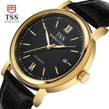 Tss часы мужской кварцевые часы водонепроницаемый кожаный ремень мужской таблицы моды простой черный + золотой relogio мужской подлинной безопасности