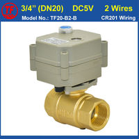 3 4 Motorised Valve Brass Boday DC5V BSP NPT Thread With Manual Override And Indicator 2