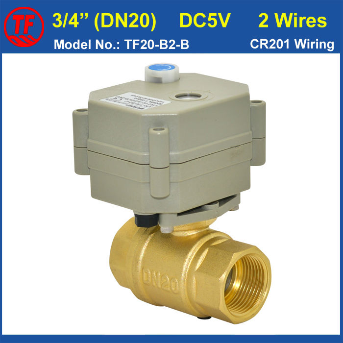TF20 B2 B NPT/BSP 3/4'' Motorised Valve Brass Full Port With Manual Override 5VDC 2 Wires DN20 Electric Shut Off Valve CE/IP67