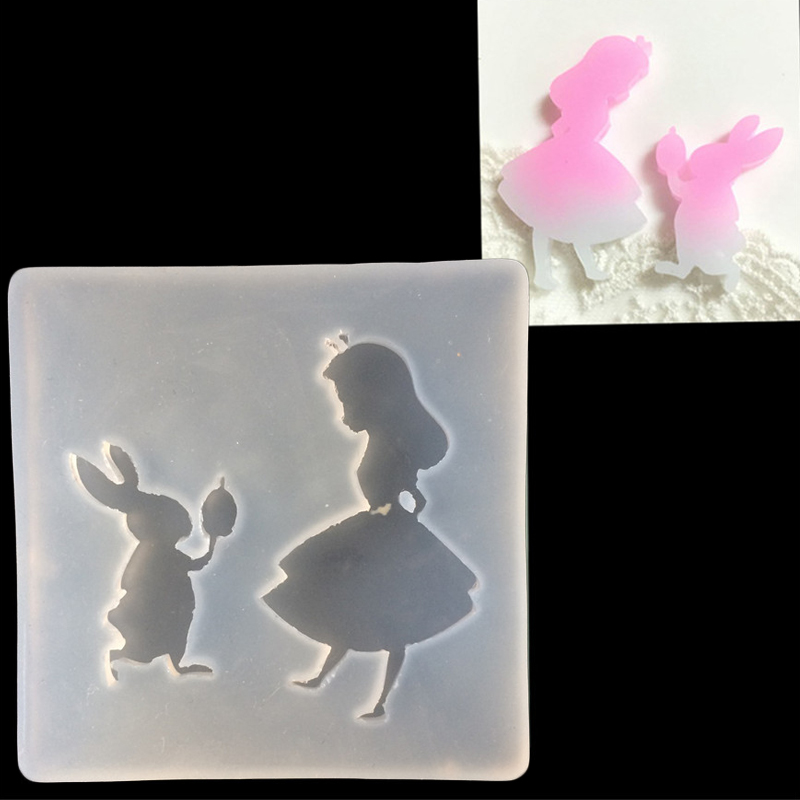DIY Girl And Rabbit Pendant Casting Mold Jewelry Making Craft Tool Clear Silicone Resin Crystal Mold Chocolate Cake Ice Mould
