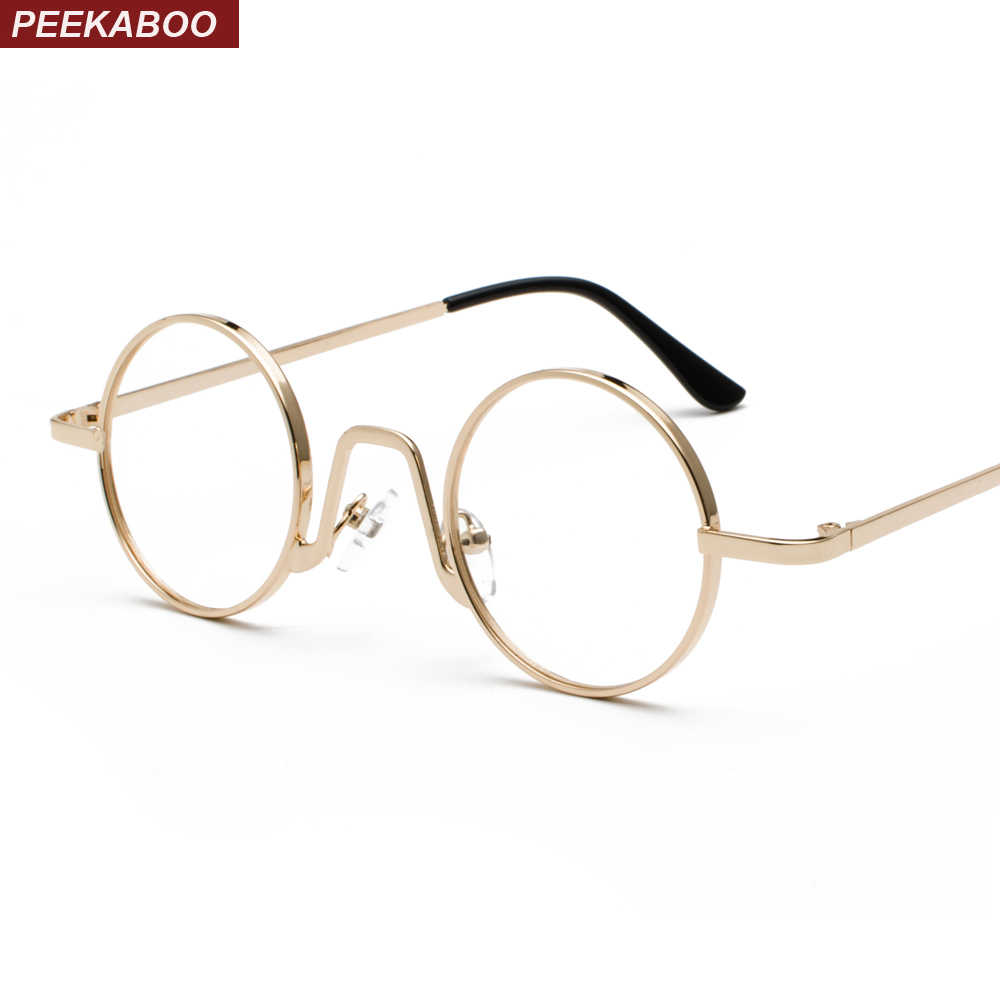 daadc316c19ac Peekaboo woman small glasses frame men vintage 2019 gold retro round circle metal  frame eyeglasses decoration
