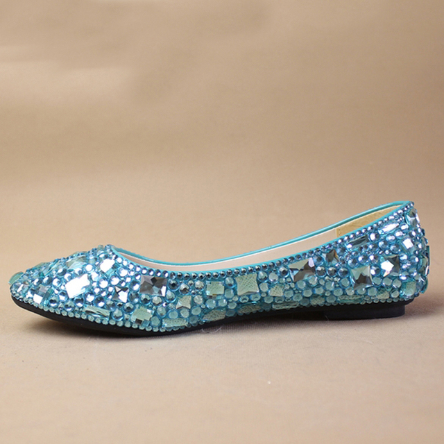 a1d37ac6e Nice Sky Blue crystal lady s formal shoes Jeweled Beaded Flat Heel Bridal  Evening Prom Party Wedding Dresses Bridesmaid Shoes