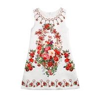 2018 ins cuatro estaciones estilo occidental Chaleco de cumpleaños vestido niños ropa algodón casual floral a-line Girl party Vestidos bodas
