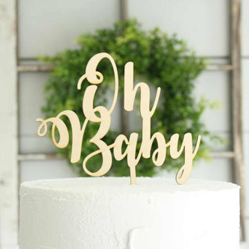 Silver Mirror Acrylic /'Oh Baby!/' Neutral Baby Shower Gender Reveal Cake Topper