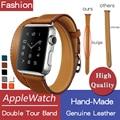 Faixas de couro genuíno duplo turnê com o logotipo para a apple watch série 4 3 2, cinta iwatch dois loop banda brown herm cinto substituição