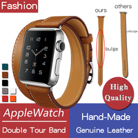genuine leather double tour bands with logo for apple watch series 4 3 2, iwatch two loop band brown herm strap replacement belt