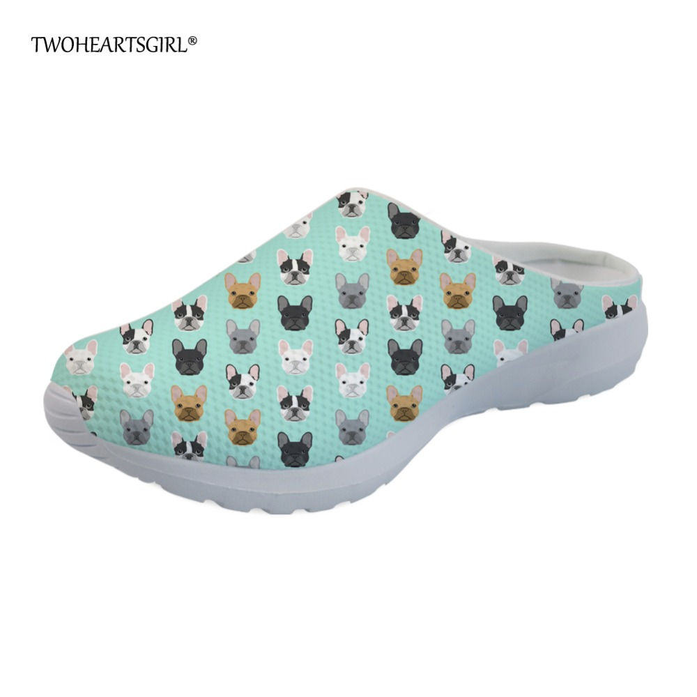 ca85474bb816 Detail Feedback Questions about Twoheartsgirl French Bulldog Slippers for  Women Cute Female Ladies Mesh Beach Slippers Breathable Women Sandals Home  Shoes ...