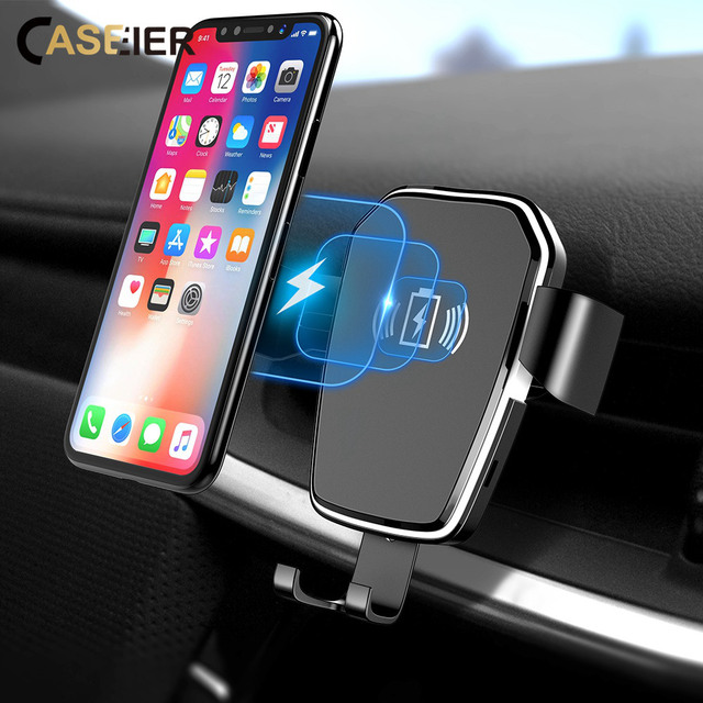 CASEIER Wireless Charger For iPhone XS Max X XR 8 Plus Car Mount QI Fast Charging For Samsung S9 S8 S7 Car Phone Holder in Car