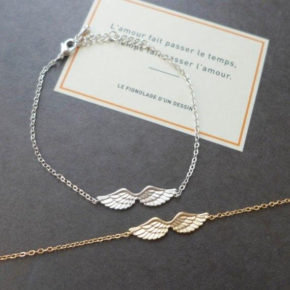 Shuangshuo Vintage Angel Wings Charm Bracelet Guardian Angel Bracelets Bangles Angel Wing Fashion Jewelry pulsera hombre SL016