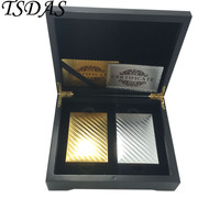 2 Paris of Golden & Silver Mosaic 24k Gold Playing Cards With Wooden Box and Certificates, Poker Cards Gold Hot Sale