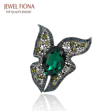 Hot Sale High Quality Emeralds Rhinestone Crystal Butterfly Brooches Fine Jewelry Wholesale