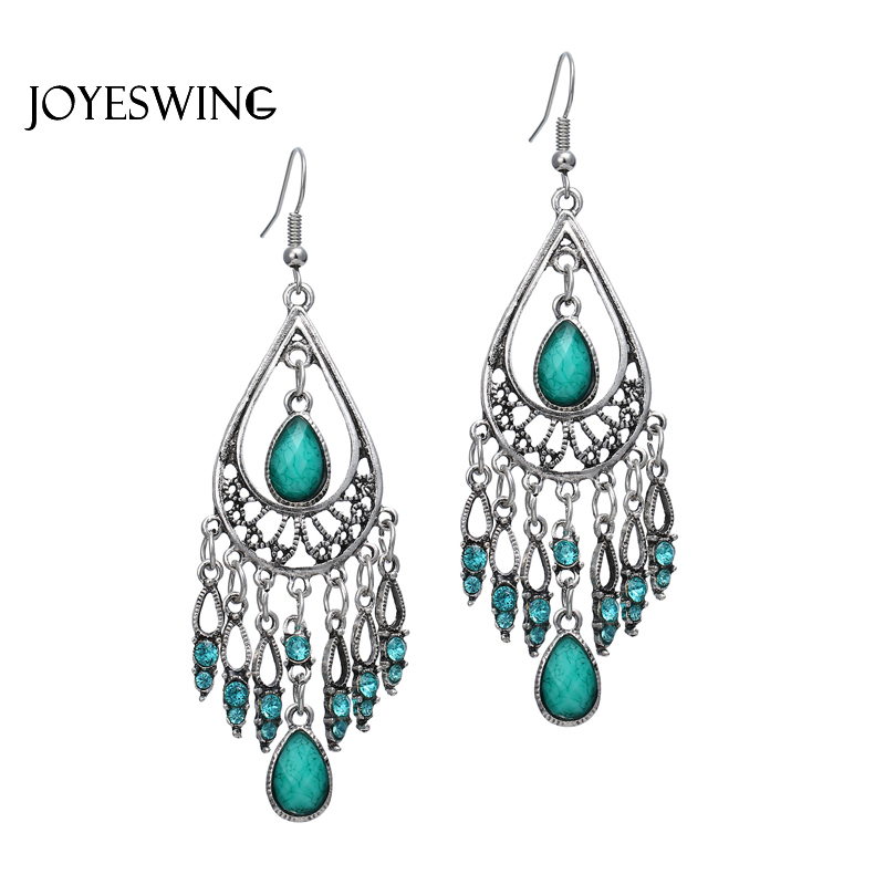 JOYESWING Vintage Dangle Earrings for Women Jewellry Alloy Stone Charms Geometric Accessories Tassel Elegant Drop Earrings
