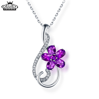 DELIEY 925 Sterling Silver Natural Purple Amethyst Flowers Pendants Necklaces For Women Romantic Fine Jewelry