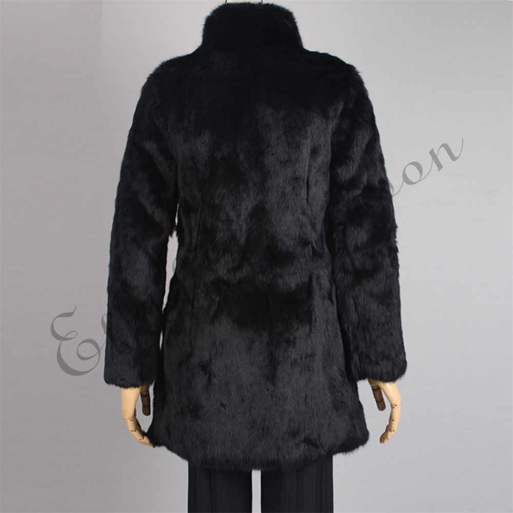 Ethel Anderson kadın Gerçek Tavşan Kürk Ceket 70 cm Uzun Ceket Vintage Kürk Ceket Palto Stand-up Yaka