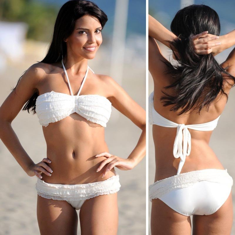 ec2d577fc623 Halter neck lacing white bikini set Hot women s sexy bikini Free shipping B  61 on Aliexpress.com