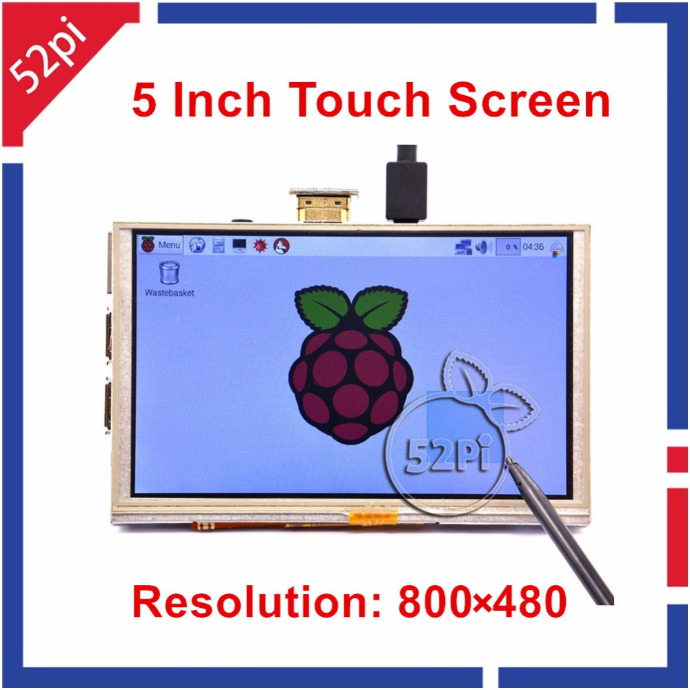 Raspberry Pi 5 inch 800x480 HDMI LCD Display Resistive Touch Screen Monitor for Raspberry Pi 3/2 B modules raspberry pi lcd display 5 inch hdmi lcd b 800x480 touch screen supports all raspberry pi 3 b banana pi pro with cas