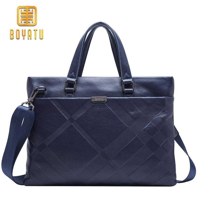 100% Genuine Leather Briefcase Men Bag Business Handbag 14 Inch Laptop Shoulder Bags Tote Natural Skin Men Briefcase