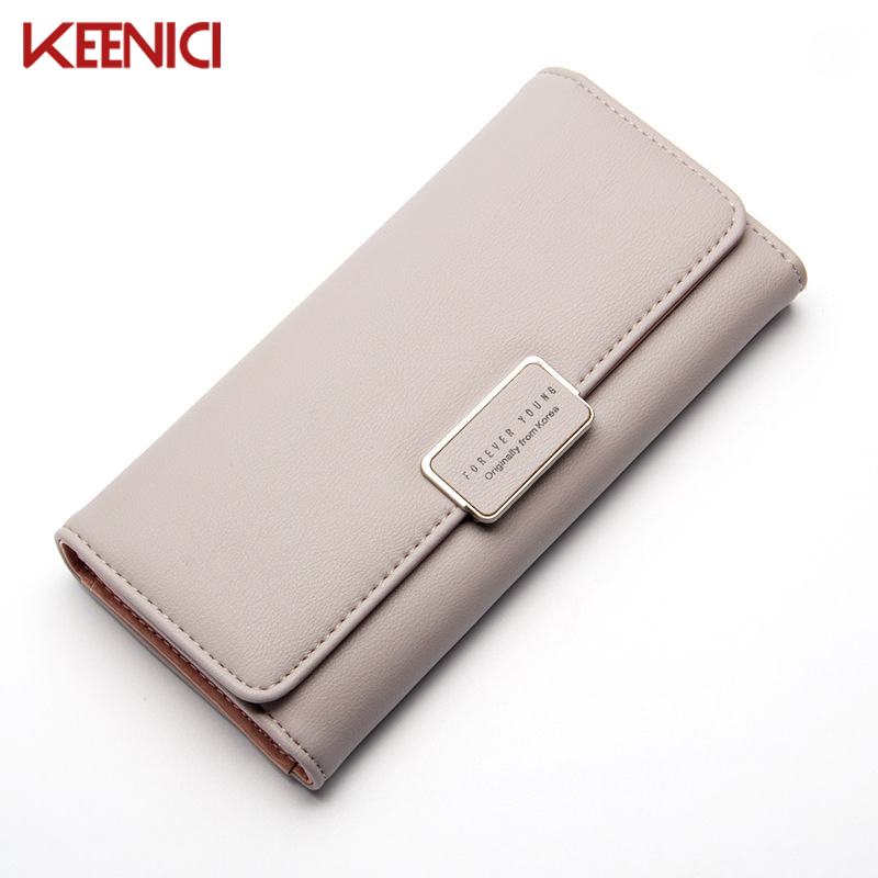KEENICI 3 Fold Lovely Leather Long Women Wallet Girls Change Clasp Purse Female Money Coin Card Holders Wallets Carteras  2017 hot sale lovely leather long women wallet fashion girls change clasp purse money coin card holders wallets carteras