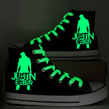 Justin Bieber Graffiti Shoe Fashion Glow in the Dark Women Casual Shoes Hand Painted Girl's Canvas Shoes High Top Black Sneakers wen high top hand painted canvas shoes men women sneakers design supernatural graffiti skateboarding flats