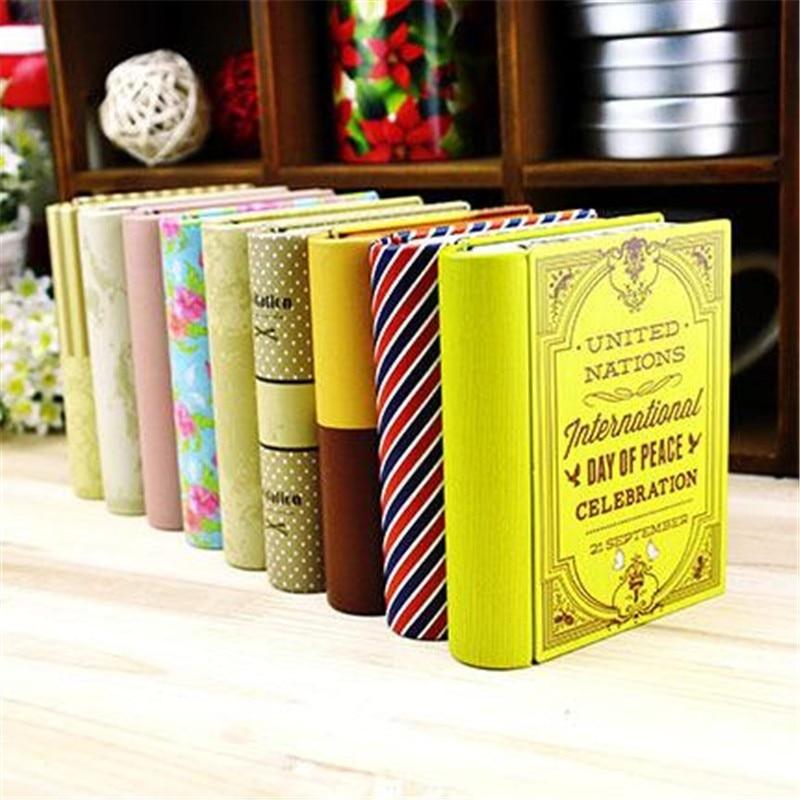 Tinplate Container Storage Box Book Shape Case Bins Trinket Gift  TinColorful Cute Metal Organizer Coffee Shop