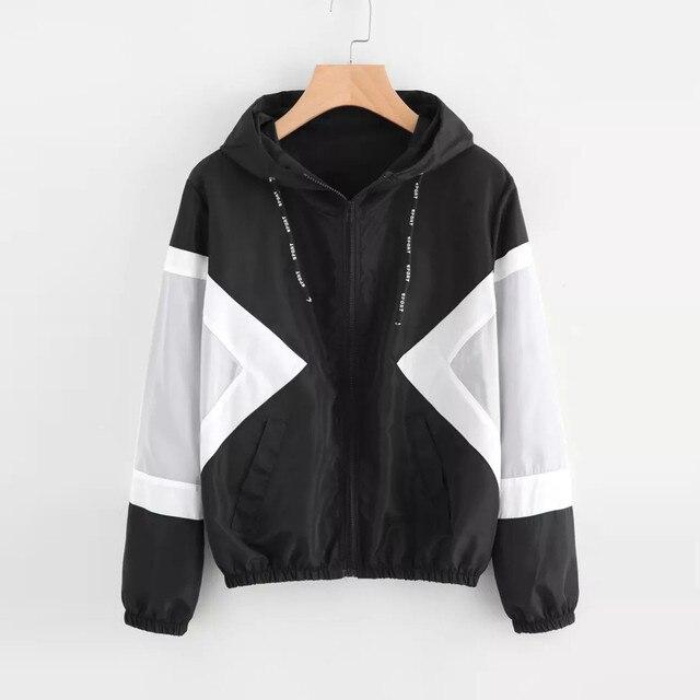 FeiTong סתיו נשים מעיל רוח מעיל ארוך שרוול טלאי סטנדרטי Skinsuits סלעית רוכסן כיסי מעיל