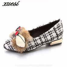 The New Tip Of The Bow Hair Plush Shoes Hit The Wild Rough With The Women's Shoes Flat Shoes Zapatillas Mujer Leather Flats