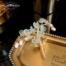 GLSEEVO, натуральный жемчуг, смола, цветок, ручная работа, дерево, брошь для женщин, вечерние, красивые броши, брошь для женщин, ювелирное изделие GO0336
