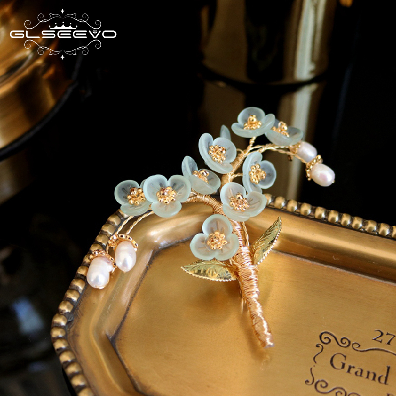 GLSEEVO Natural Pearl Resin Flower Handmade Tree Brooch For Women Party Beautiful Brooches Broche Femme Bijoux Jewelry GO0336GLSEEVO Natural Pearl Resin Flower Handmade Tree Brooch For Women Party Beautiful Brooches Broche Femme Bijoux Jewelry GO0336
