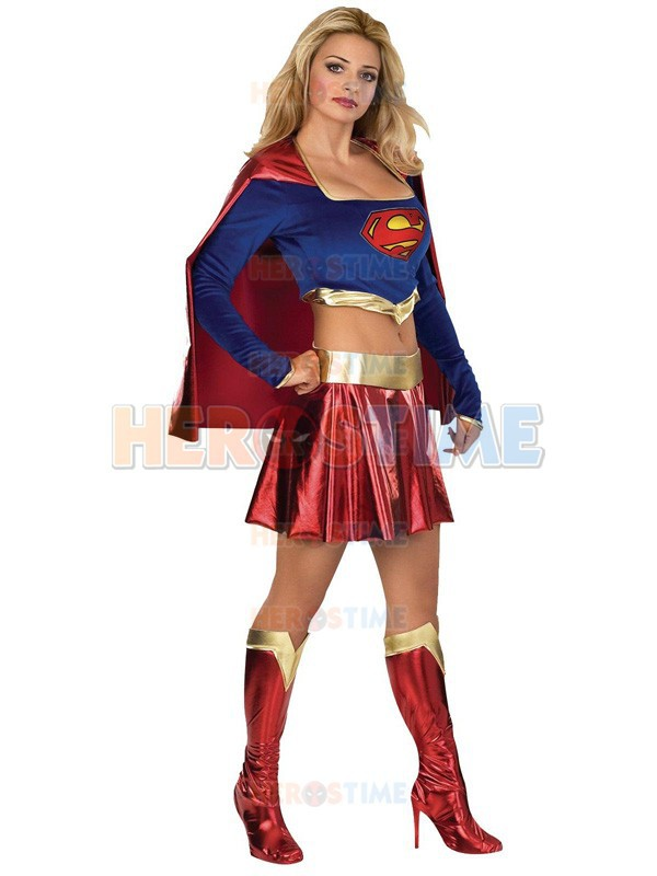 The Most Popular Supergirl Costume Shiny Metallic Fullbody Supergirl Cosplay Zentai Suit  free shipping
