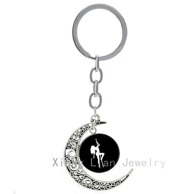 c04679068e1b 2016 vente chaude Pole Dance lune pendentif porte-clé de cru de sexe filles  stripper