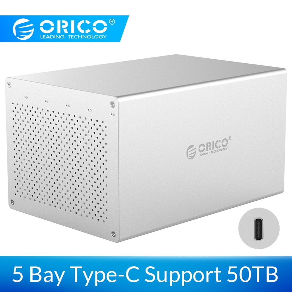 ORICO 5 Bay 3.5 Inch HDD Enclosure SATA To USB3.1 Type-c HDD Case 5Gbps High Speed Data Transmission  For Mac/Win/Linux