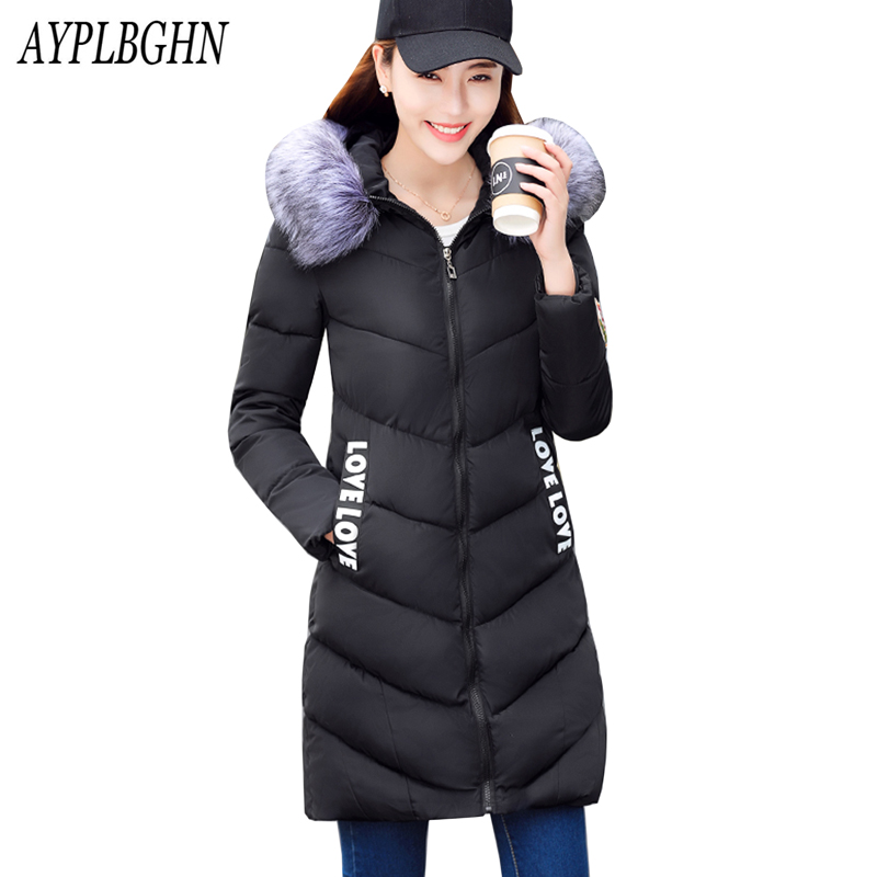 high quality Thick Warm Winter Jacket Women Slim Fashion Letter Ladies Parkas Hooded With Big Fur Collar Plus Size Cotton Coat 2018 winter pu leather jacket women down cotton coats high end slim thick warm parkas lady big fur collar jacket ladies clothing