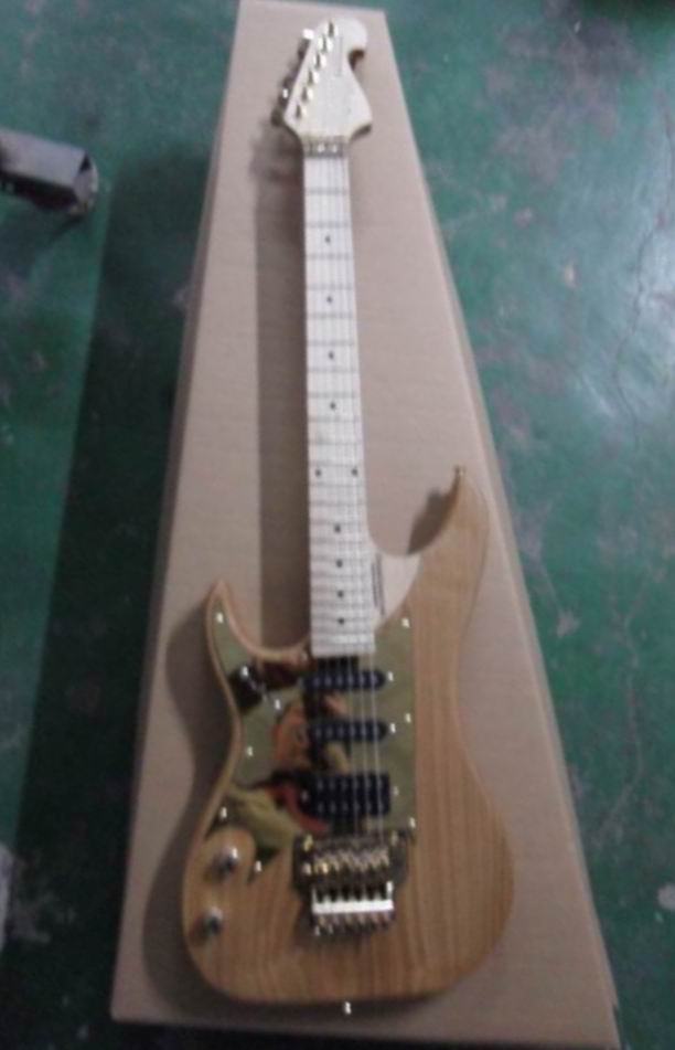 New Arrival Cnbald Left Handed 6 String Electric Guitar With Floyd RoseTremolo In Natural 131215 new 2pcs left