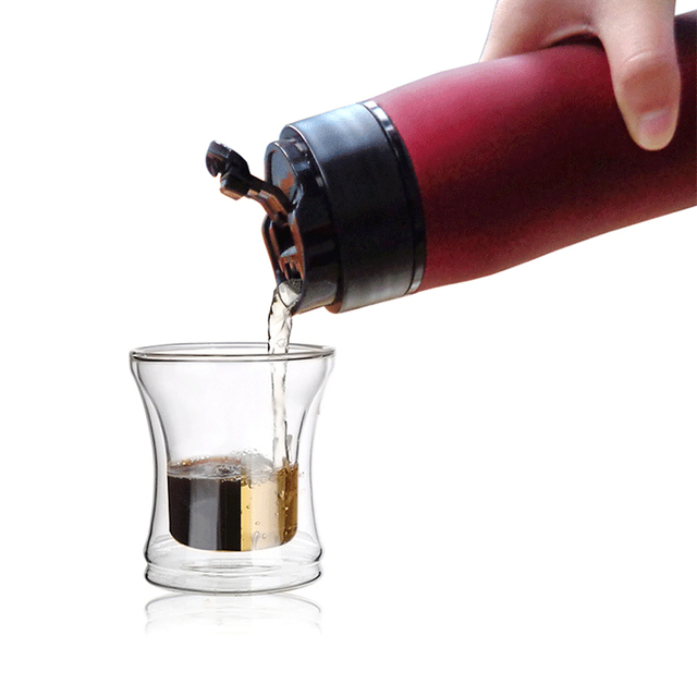 2017 New Coffee Pot 350ml 304 Stainless Steel Outdoor Vacuum Mug Plunger Portable French Press