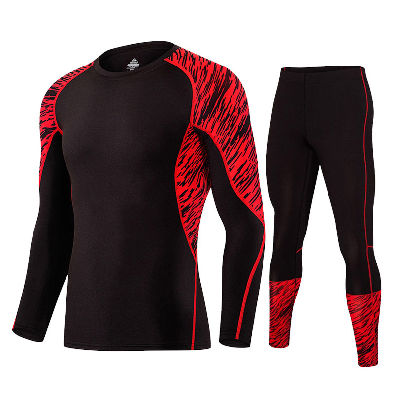 2PC Mens Quick-Dry Full Length Workout Tight Set Multicolored Performance Baselayer